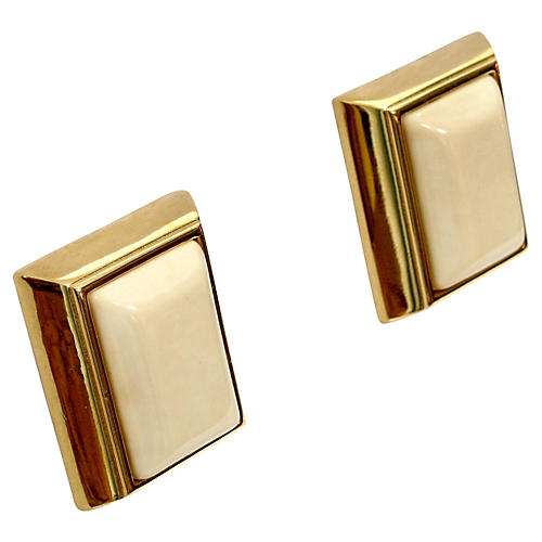 Givenchy Cream Glass Earrings