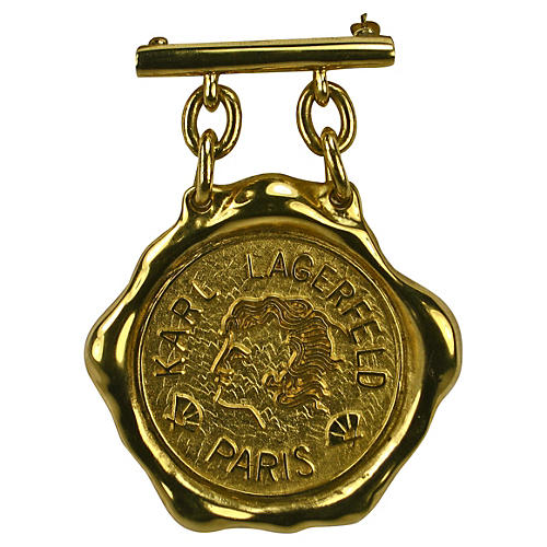 Lagerfeld Gold-Plated Medallion Brooch