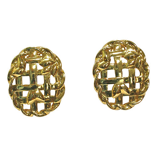 Givenchy Lattice Gold Plate Earrings