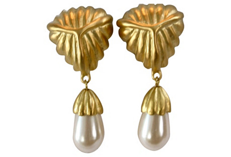 Givenchy Matte Gold & Pearl Earrings