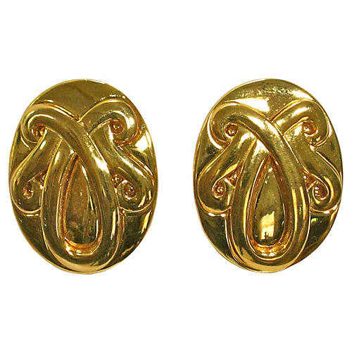 Givenchy Gold Shield Crest Earrings