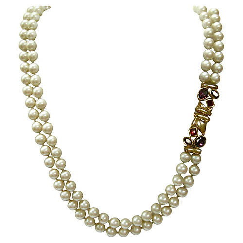 Gripoix Glass Pearl Necklace