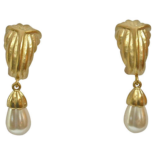Givenchy Matte Gold Drop Earrings