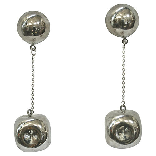 1980s Silver Pinched Dangle Earrings