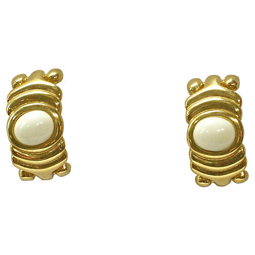 Givenchy Gold & White Carved Earrings