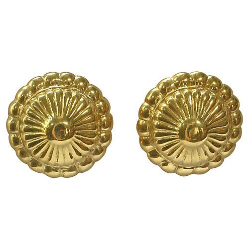 Etruscan Revival Gold Shield Earrings