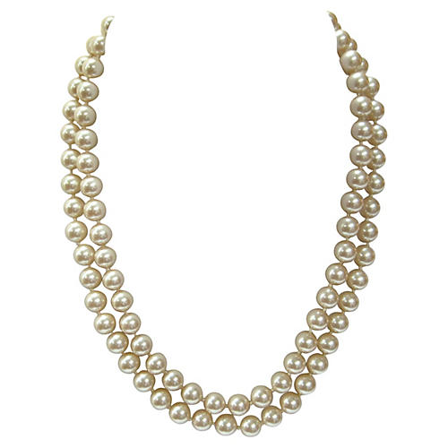 Champagne Double-Strand Pearl Necklace