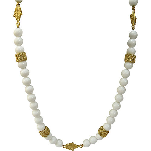 Gold Leaves & White Glass Bead Necklace