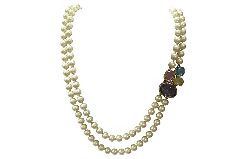 Givenchy Bejeweled Glass Pearl Necklace