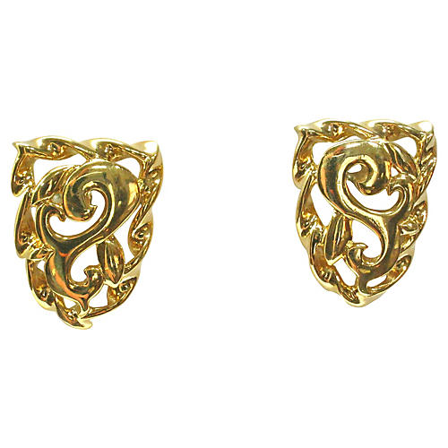 Givenchy Gold Plated Crest Earrings