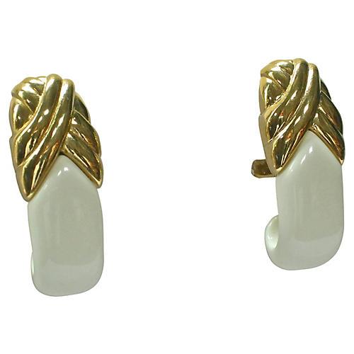 Modernist Gold & White Earrings