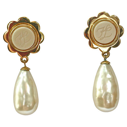 Karl Lagerfeld Gold Pearl Drop Earrings