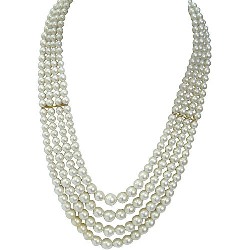 Multi-Strand Glass Pearl Necklace