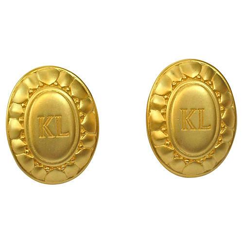 Karl Lagerfeld Signature Shield Earrings