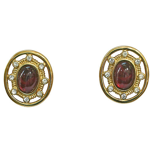 Givenchy Gold-Plated Cabochon Earrings