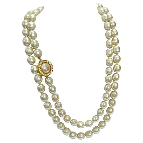 Lagerfeld Baroque Glass Pearl Necklace