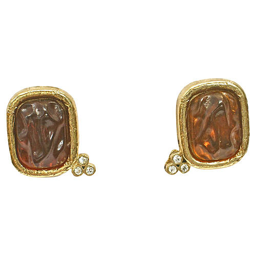 Givenchy Gold Foil & Glass Earrings