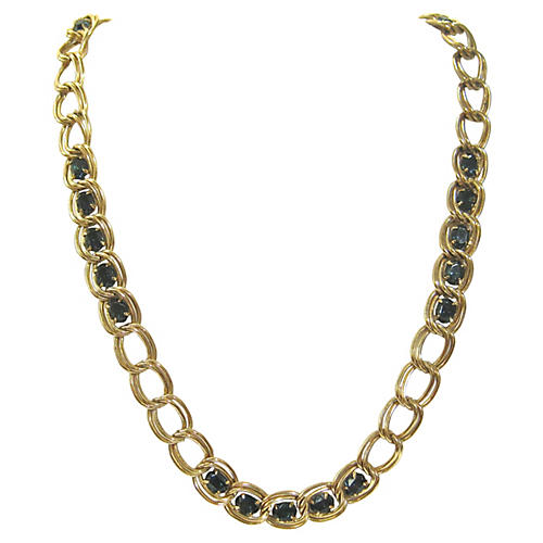 Givenchy Deep Blue Gold Chain Necklace
