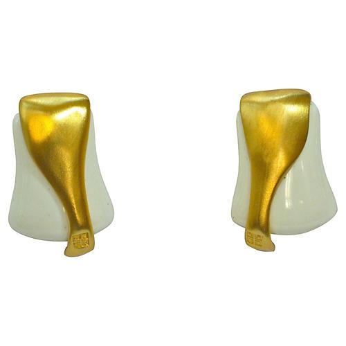 Givenchy Modernist Matte Gold Earrings