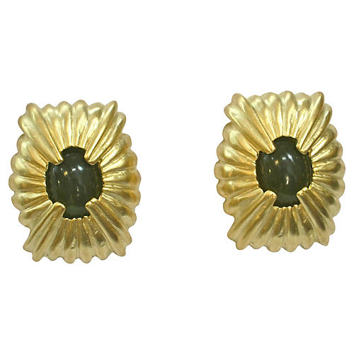 Givenchy Matte Peridot & Gold Earrings
