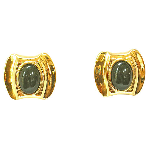 Givenchy Modernist Gold Onyx Earrings