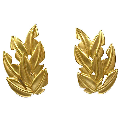 Givenchy Gold-Plated Matte Leaf Earrings
