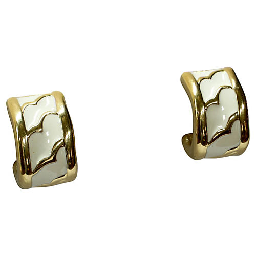 Givenchy White Enamel Modernist Earrings