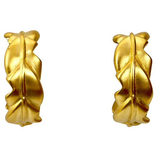 Matte Gold Givenchy Leaf Earrings