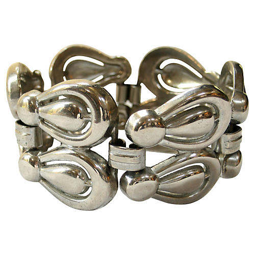 Wide Link Pewter Bracelet