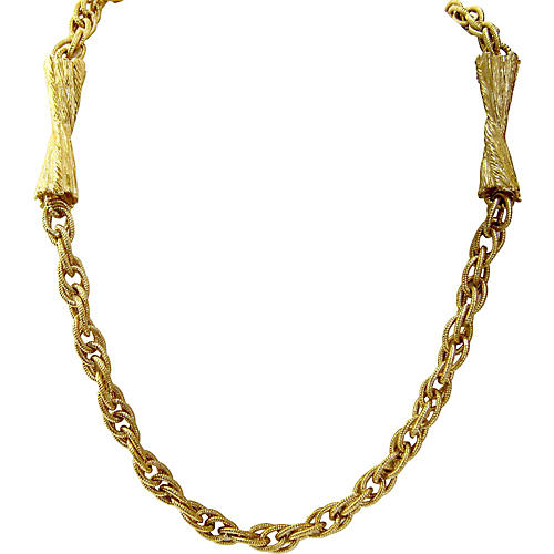 Givenchy Gold Woven Chain & Bow Necklace