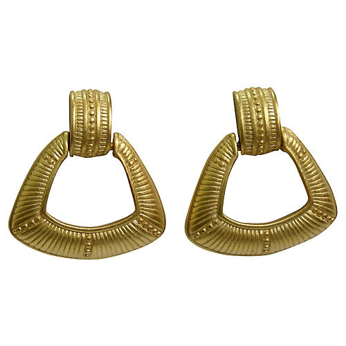 Givenchy Engraved Gold Knocker Earrings