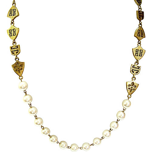 Givenchy Gold Shield & Pearl Necklace