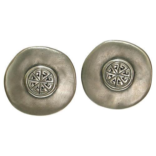 Givenchy Matte Pewter Shield Earrings