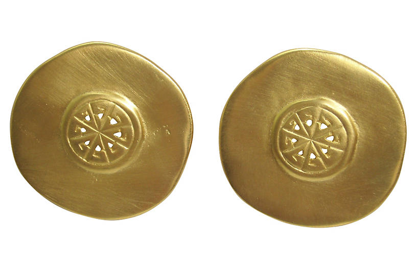Large Givenchy Matte Gold Earrings