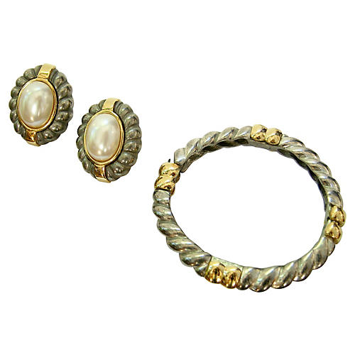 Givenchy Two-Tone Bracelet & Earring Set