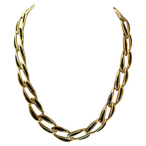 1980s Modernist Gold-Plated Necklace