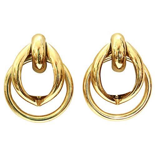 Gold-Plated Double-Hoop Earrings