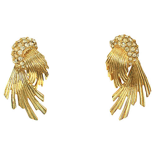 Givenchy Gold Crystal Sunburst Earrings