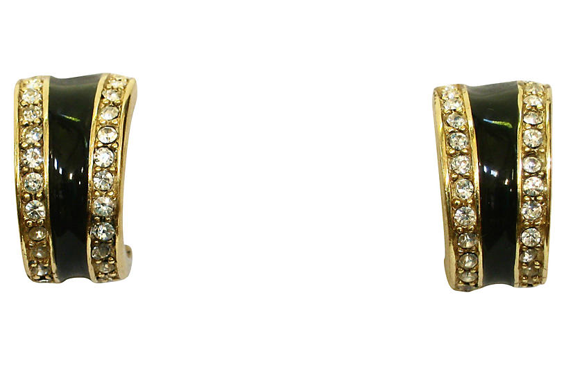 Givenchy Deco-Style Crystal Earrings
