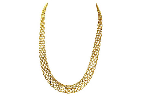 Gold-Plated Mesh Link Necklace