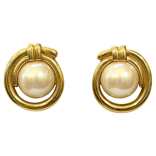 Givenchy Modernist Gold & Pearl Earring