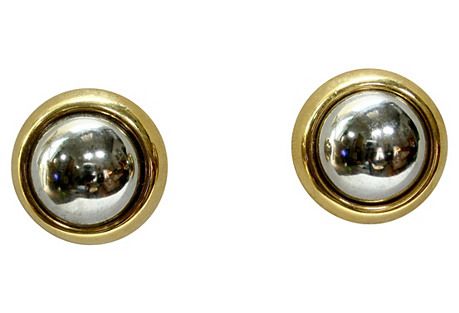 Reflective Silver & Gold-Plated Earrings