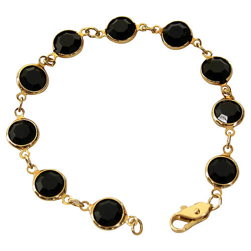 Onyx Faceted Glass & Gold Bracelet