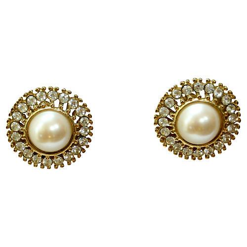 Classic Pearl Crystal Earrings