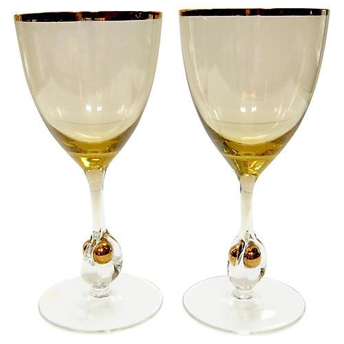 Elegant Crystal Wineglasses, S/2