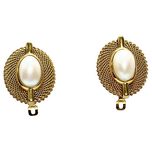 Givenchy Mesh Pearl Earrings