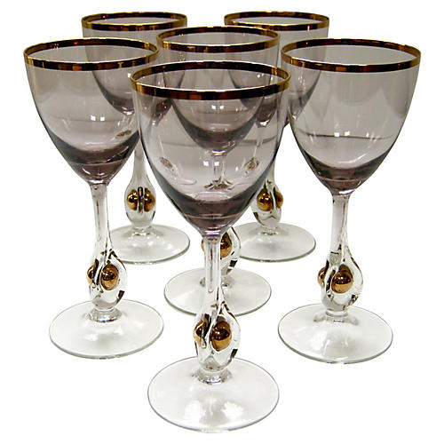Elegant Crystal Wineglasses, S/6