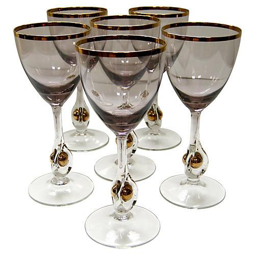 Elegant Crystal Wineglasses, S/6