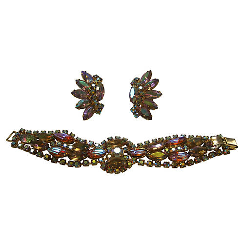 1960s D&E Juliana Bracelet & Earring Set