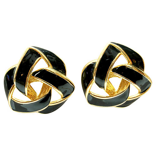 Givenchy Black & Gold Oversize Earrings